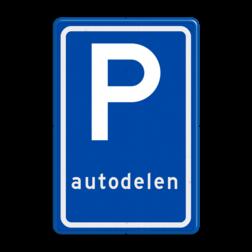 Verkeersbord Parkeerplaats autodelen. Parkeergelegenheid alleen bestemd voor voertuigcategorie, of groep voertuigen, die op het bord is aangegeven Verkeersbord RVV E08r - Parkeerplaats autodelers E08r autodelen, carpoolen, samen E8, E8r