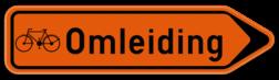 Verkeersbord F41: Bewegwijzeringsbord voor de aanduiding van een omleidingsweg. Verkeersbord SB250 F41 - Wegwijzer omleiding voor fietsers Rechts