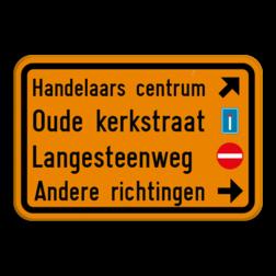 Verkeersbord F39: Dit verkeersbord geeft aan dat er een omleiding is. Pas het bord eenvoudig zelf aan met onze SignEditor. Verkeersbord SB250 F39 - 4 tekstblokken + pictogrammen