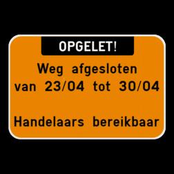 Tekstbord landscape 3:2 met boventekst - wit/fluo oranje