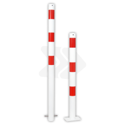 Afzetpaal rond Ø60-108mm rood wit - vaste uitvoering met grondanker versperringspaal, vaste paal, stoeppaalanti-parkeerpaal, parkeren, rood-witte paal, verboden te parkeren, parkeerbeugel, klappaal, klap paal, trottoirpaal, geen parkeerplaats, niet parkeren