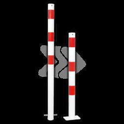 Parkeerpaal rond Ø60-108mm rood wit - vaste uitvoering met grondanker versperringspaal, vaste paal, stoeppaalanti-parkeerpaal, parkeren, rood-witte paal, verboden te parkeren, parkeerbeugel, klappaal, klap paal, trottoirpaal, geen parkeerplaats, niet parkeren