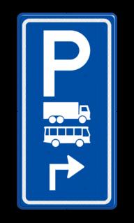 Parkeerroutebord E8a vrachtwagens en bussen met pijl parkeerplek, parkeerplaats, bus, vrachtwagen, vrachtauto, E8, E8a