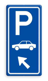 Parkeerroutebord E8 auto met aanpasbare pijl parkeerplek, auto, parkeerplaats, E8, E08