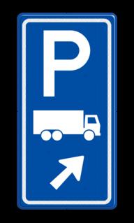 Parkeerroutebord E8c vrachtwagens met pijl parkeerplek, parkeerplaats, vrachtwagen, vrachtauto, E8, E8c
