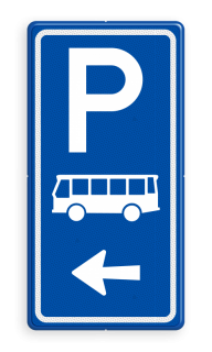 Parkeerroutebord E8d bus met pijl parkeerplek, parkeerplaats, bus, touringcar, E8, E8d