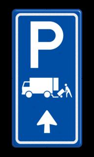 Parkeerroutebord E7 laden/lossen vrachtwagens met pijl parkeerplek, parkeerplaats, vrachtwagen, vrachtauto, E07, expeditie