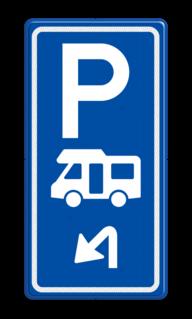 Parkeerroutebord E8n camper met pijl camper, parkeerplaats, parkeerplek, rustplaats, camping, E8n, E08n, camperbus, kampeerplaats, camperplaats, camperplek