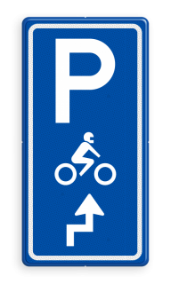 Parkeerroutebord E8m motor met aanpasbare pijl motor, parkeerplek, parkeerplaats, E8, E08m,