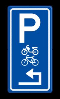 Parkeerroutebord E8m (brom-)fietsen met pijl parkeerplek, parkeerplaats, stalling, brommer, scooter, fiets, E8, E8g