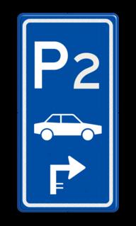 Parkeerroutebord E8 auto met nummer en pijl pijl parkeerplek, auto, parkeerplaats, E8, E08