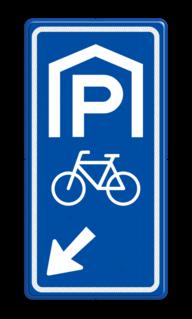 Parkeerroutebord E8f fietsen met pijl parkeerplek, parkeerplaats, stalling, fiets, E8, E8g