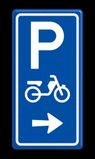Parkeerroutebord E8e bromfietsen met pijl bromfiets, scooter, parkeerplek, parkeerplaats, E8, E8e