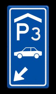 Parkeerroutebord E8 auto overdekt met nummer en pijl pijl parkeerplek, auto, parkeerplaats, E8, E08, garage, overdekt