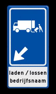 Verkeersbord Parkeerplaats laden en lossen met pijl Gelegenheid voor het onmiddellijk laden en lossen van goederen Verkeersbord RVV E07 met aanpasbare pijlrichting en tekst E07, E7, laden en lossen, vrachtauto
