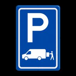 Verkeersbord Parkeerplaats laden en lossen - Gelegenheid voor het onmiddelijk laden en lossen van goederen Parkeergelegenheid alleen bestemd voor voertuigcategorie, of groep voertuigen, die op het bord is aangegeven Verkeersbord RVV E07b - Parkeergelegenheid Laden en lossen E07b