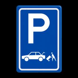Verkeersbord Parkeerplaats laden en lossen - Gelegenheid voor het onmiddelijk laden en lossen van goederen Parkeergelegenheid alleen bestemd voor voertuigcategorie, of groep voertuigen, die op het bord is aangegeven Verkeersbord RVV E07c - Parkeergelegenheid Laden en lossen E07c busje, transport, E7, laad, losplaats, laden en lossen, auto