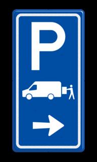 Parkeerroutebord E7b laden/lossen busje met pijl parkeerplek, parkeerplaats, Transporterbusje, transportbusje, E07, expeditie