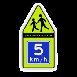 Product Spelende kinderen + adviessnelheid Spelende kinderen bord 500x1000mm met adviessnelheid school, spelende kinderen, matig uw snelheid, overstekende kinderen, J21, 10km, L303