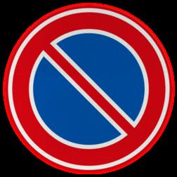Verkeersbord Hier mag je niet parkeren, geld alleen aan de kant van de weg waar het bord staat. Je mag hier wel even iemand afzetten o.i.d. Verkeersbord RVV E01 - Parkeerverbod E01 niet parkeren, E1, Parkeerverbod, e01, verboden, parkeren