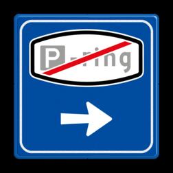Verkeersbord Einde parkeerringverwijzing Verkeersbord RVV BW205e - Einde Parkeerringverwijzing BW205