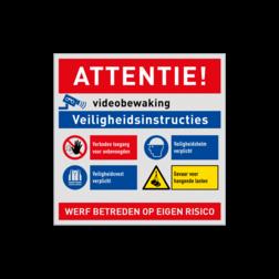 Werfbord voor bouwplaats of bouwterrein - Veiligheidsinstructies + logo bouwplaats, bord, werkplaats, magazijn, melden bij uitvoerder, veiligheid, pbm, werfbord, werf