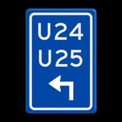 Verkeersbord Uitwijkroute Verkeersbord RVV BW501lh - U-bord BW501b parkeerplaats, parkeerplek, routebord, bord met pijl, uitwijkroute, u borden, u-borden