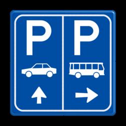 Parkeerbord E8+E8d auto en bus met pijl