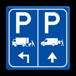 Parkeerbord E07 vrachtwagen en transporterbusje met pijlen transporterbusje