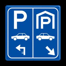 Parkeerbord E8 auto parkeergarage met pijl