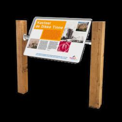 Montageframe t.b.v. Informatiebord natuurgebied opstelframe, informatiebord, plattegrondbord, palenset, lessenaar, frame, montageframe, 45 graden, liggend