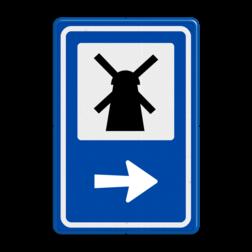 Routebord BW101 (blauw) - 1 pictogram met aanpasbare pijl BEW101, Molen, Wieken,