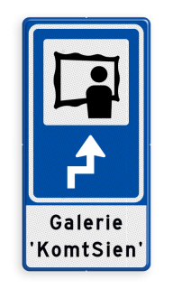 Routebord BW101 (blauw) - 1 pictogram met aanpasbare pijl en tekstvlak BEW101, Galerie, kunst, tentoonstelling