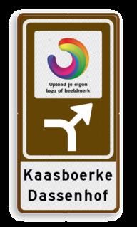 Routebord BW101 (bruin) - 1 pictogram met aanpasbare pijl en tekstvlak BEW101, LOGO, EIGEN PICTO, pictogram