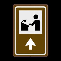 Routebord BW101 (bruin) - 1 pictogram met aanpasbare pijl BEW101, vergaderen, vergaderzaal, conferentieoord