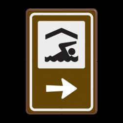 Routebord BW101 (bruin) - 1 pictogram met aanpasbare pijl BEW101, Zwembad, zwemmen, binnenbad, buitenbad