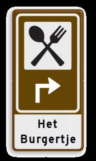 Routebord BW101 (bruin) - 1 pictogram met aanpasbare pijl en tekstvlak BEW101, eten, food
