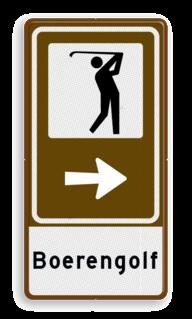 Routebord BW101 (bruin) - 1 pictogram met aanpasbare pijl en tekstvlak Golf, Golfen, Minigolf, midgetgolf