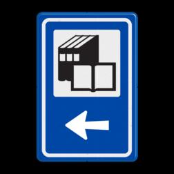 Routebord BW101 (blauw) - 1 pictogram met aanpasbare pijl BEW101, Lezen, boeken, Bieb