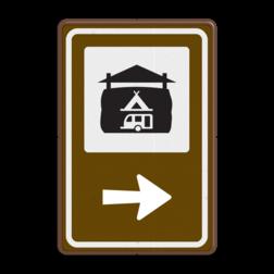 Routebord BW101 (bruin) - 1 pictogram met aanpasbare pijl BEW101, Boerencamping, SVR, kamperen