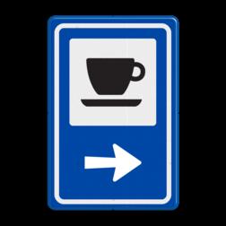 Routebord BW101 (blauw) - 1 pictogram met aanpasbare pijl BEW101, koffie, kopje, koffiekopje,