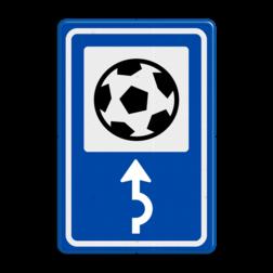 Routebord BW101 (blauw) - 1 pictogram met aanpasbare pijl BEW101, voetbal, voetbalveld, sportveld, stadion