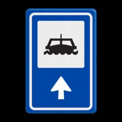 Routebord BW101 (blauw) - 1 pictogram met aanpasbare pijl BEW101, boot, Veer
