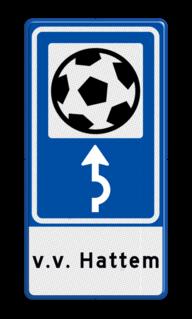 Routebord BW101 (blauw) - 1 pictogram met aanpasbare pijl en tekstvlak BEW101, voetbalveld, voetbalstadion, sportveld