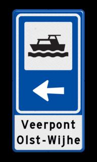 Routebord BW101 (blauw) - 1 pictogram met aanpasbare pijl en tekstvlak BEW101, jachthaven, boot