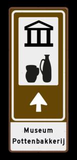 Routebord BW101 (bruin) - 2 pictogrammen aanpasbare pijl en tekstvlak BEW101, pottenbakkerij