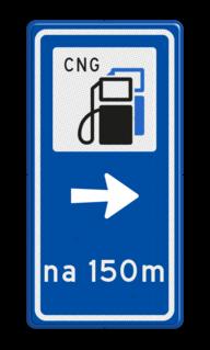 Routebord BW101 (blauw) - 1 pictogram met aanpasbare pijl en afstand BEW101, cng, lpg, tanken