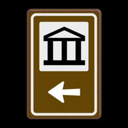 Routebord BW101 (bruin) - 1 pictogram met aanpasbare pijl BEW101, Musea, kunst