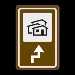 Routebord BW101 (bruin) - 1 pictogram met aanpasbare pijl BEW101, Bungalow, Bungalowpark, vakantiehuisjes