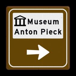 Routebord BW101 (bruin) - 1 picto en tekst met aanpasbare pijl BEW101, Musea, kunst